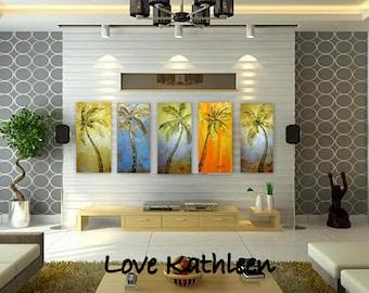 Linda LARGE Custom 4 Panel Gold Silver Orange Beach Decor Ocean Decor  Palette Knife Thick Impasto Palm Tree Painting - by Kathleen Fenton