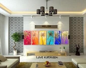 Rainbow Of Palm Trees  Modern Large Custom  Beach Decor Ocean Decor  Palette Knife Thick Impasto Palm Tree Painting - by Kathleen Fenton
