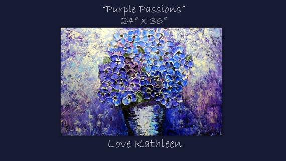 Original Modern LARGE   Purple  Blue Hydrangea  Palette Knife Thick Impasto Whimsical Flower Painting - by Kathleen Fenton