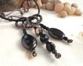 Bohemian Necklace Black Brown Antique Patina Coiled Wire Wrapped Wrap Copper Jewelry Handmade Vintage Style Slide Pendants Leather Cord