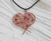 Love Necklace Heart Necklace Copper Swarovski Crystal Romantic Jewelry Handmade Black Leather Cord Short
