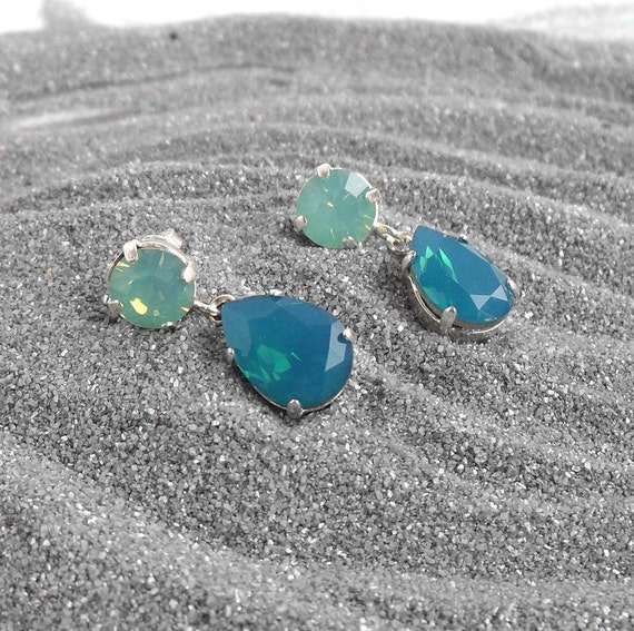 Swarovski Crystal Stud Earrings Caribbean Blue Opal Post Dangle Earings Drop Ocean Colors Nautical Silver Plated Jewelry Ear Stud Rings