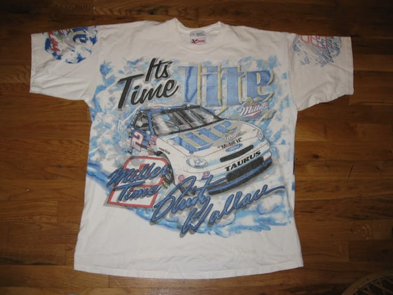 Vintage 1990s Miller Lite Rusty Wallace Car Racing Graphic T