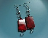 Red mother of pearl earrings