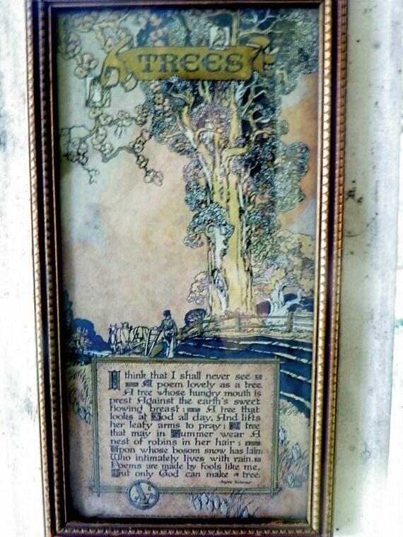 Trees by Joyce Kilmer Print from 1914 Original Frame