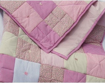 Handmade Pink / Floral/ Gingham / White anglaise fabric Patchwork Quilt. Unique Design.Toasty 8oz wadding APPROX 64 x 83 inch / 162 x 211 cm