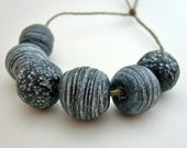 Rustic, Earthy, Black & White Polymer Clay Beads