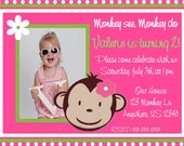 Mod Monkey Pink Girls Photo Birthday Invitation - YOU PRINT