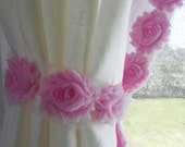 White Linen Curtain Panels with Pink Flower Trim and Tie-Backs...Other Colors Available...Baby Room Decor