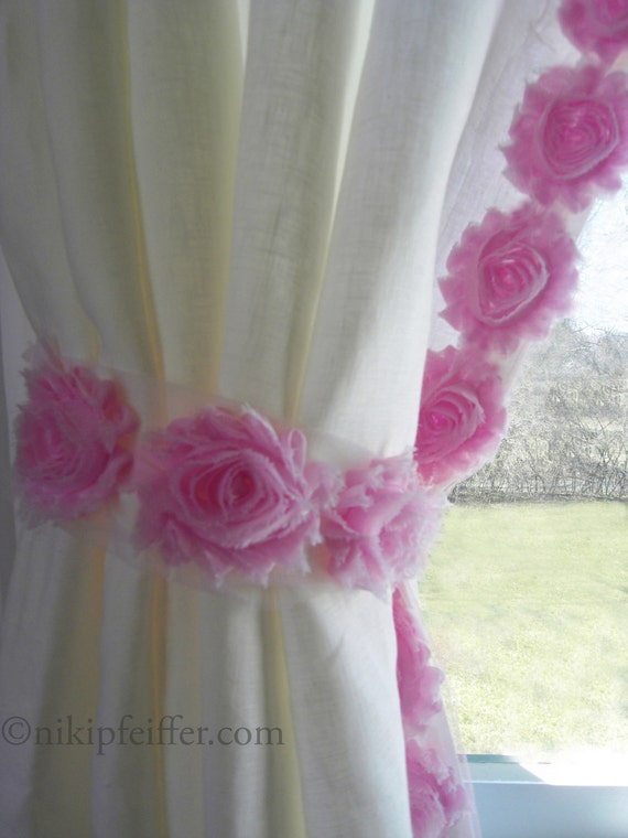 Items similar to white linen curtain panels with pink for Curtain designs for girls bedroom