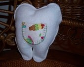 Small Tooth Shaped Tooth Fairy Pillow with Cupcake and Icecream Pouch