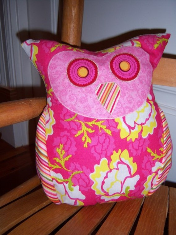 Bright Pink and Yellow Flowers with Striped Wings and Nose Olivia Owl Pillow
