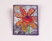 Mixed Media Fiber Brooch with Abstract Flower Design