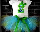 Bubbly Blueberry Lime Tutu Outfit Size 6M - 5T - Includes Tutu & Onesie or Shirt