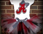 University of Alabama Crimson Tide Football UA  tutu outfit and Hairbow Size 6M - 5T -Includes tutu & onesie or shirt