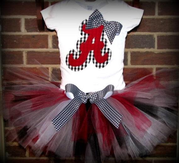 University of Alabama Crimson Tide Football UA  tutu outfit and Hairbow Size 6M - 5T -Includes tutu & onesie or shirt