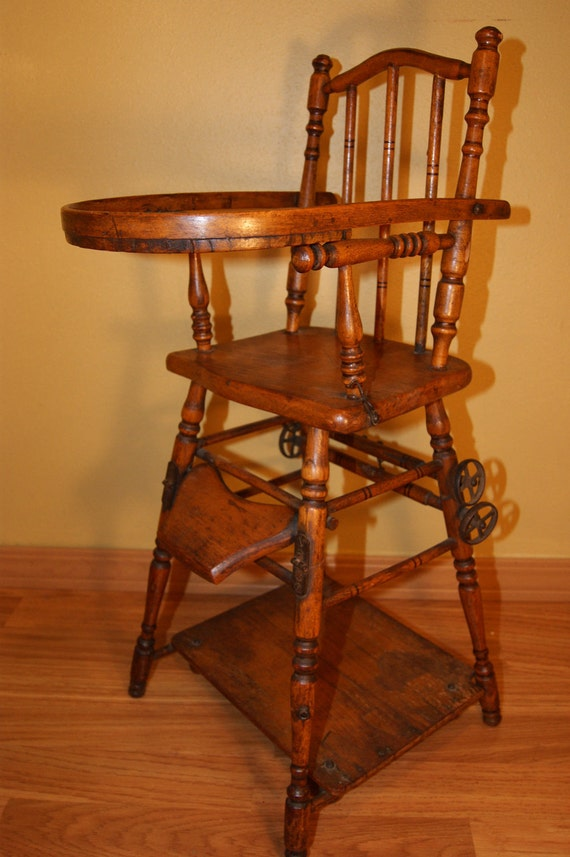 SALE - Antique Doll High Chair, Convertible