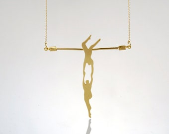 Athletic Couple on a Trapeze , Acrobat Necklace , Gold Necklace , Athletic Charm , Gift for Athelets , Sport Jewelry , Circus Necklace