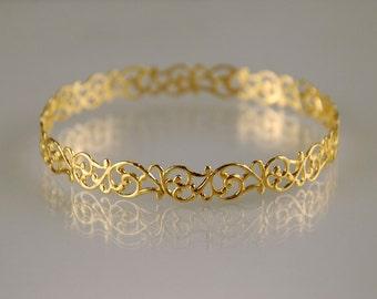 Fine Golden Lace Bangle , Filigree Bracelet , Bridal Bracelet , Bridal Jewelry , Bridesmaids Bracelet , Lace Bangle , Thin Filigree Bangle