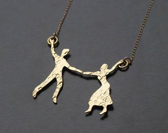 Couple Dancing the Twist Gold Necklace, Dancers Charm, Boyfriend Girlfriend Jewelry, Woman Necklace , Dancers Necklace , Dancers Jewelry