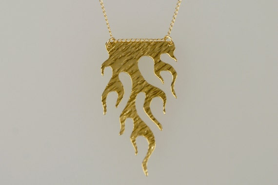 HOLIDAY SALE 20% OFF- Gold Flames Necklace, Fire Charm- Handmade- Free Shipping- Ready to Ship