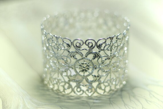 Thick Lace Bracelet-, Silver Filigree Bangle- Free Shipping- Ready to Ship