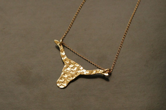 Bull Gold Necklace- Handmade- Free Shipping