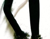 Extra Long Fingerless Gloves With Middle Fingerloop And Tulle With Gold Star Frill