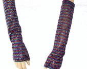 Arm Warmers Metallic Rainbow Stripes Emo Lolita Clubber
