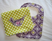 Baby Girl Chenille Bib and Burp Cloth Gift Set in Purple and Green