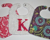 Baby Girl Custom Reversible Chenille Bib Gift Set