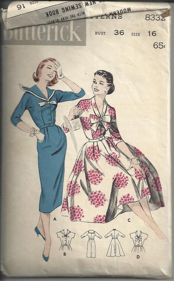 vintage 50s/60s butterick 8332 size 16 misses full or slim skirt