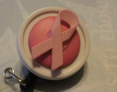 Pink Ribbon on White Badge Clippy
