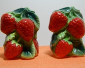 Vintage Strawberry Figural Salt and Pepper Shakers