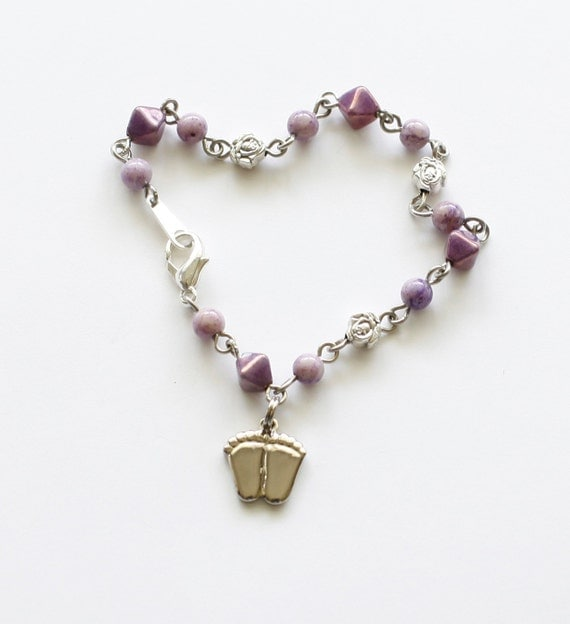 Pro-Life Bracelet - Purple/Lavender/Silver with Precious Feet and Tiny Roses