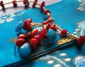 Bright primary colors  beaded necklace with gold wire accents