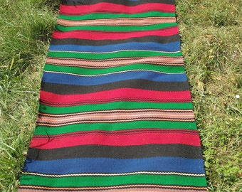 Vintage colorful woolen rug 200x85 cm