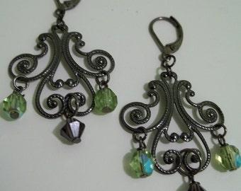 Gunmetal filigree with crystal charms earrings