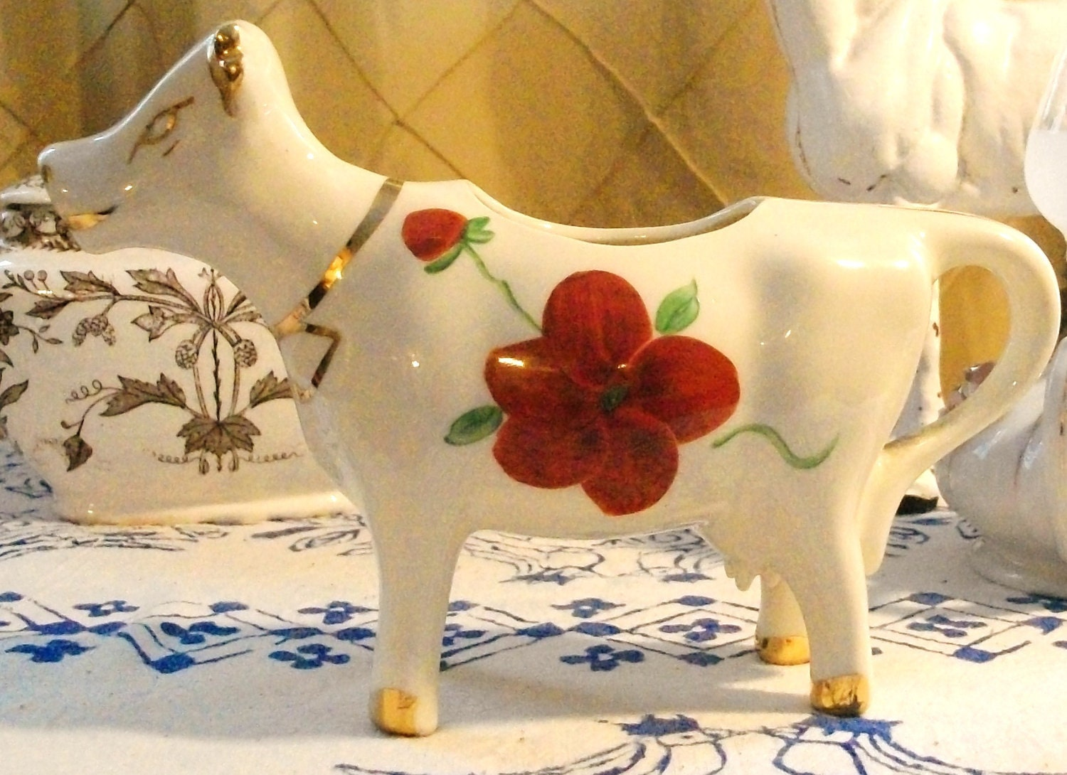 Vintage Cow Creamer Ceramic Red Flowers White Gold 1950 S