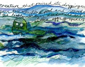 Original Painting Sketch - SEA MONSTER - Mixed Media Green Blue Drawing, Surreal Illustration Artwork