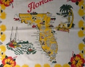 "Vintage Florida Souvenir Tablecloth featuring Fishing Boat named ""Nancy"", Ringling, Daytona, Hibiscus, Red, Yellow, Green"