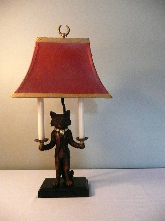 Fox Hunt Red Fox In Hunting Jacket Candle Holder Lamp Red