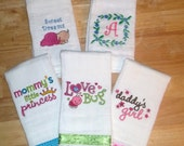 6 Embroidered Burp Cloths in Peacock colors for Cheryl