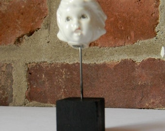 Small Salvaged White Porcelain Doll Head Sculpture