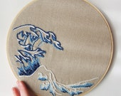 Embroidery Hoop Art Modern Japanese Wave Wall Art Upcycled Fabric One of a Kind