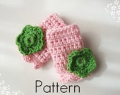 Crochet Pattern Children's Fingerless Gloves with Crochet Flower Applique Downloadable PDF Picture Tutorial