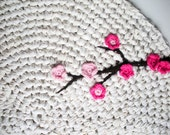 Crochet Rug Cherry Tree Ombré Cotton Rug Nursery Kids Rug as Featured in Inside Crochet Magazine and Upcycle Magazine