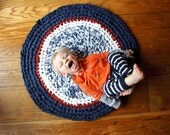 Crochet Rug Upcycled Cotton Nautical Navy, White, and Red Circle Accent Rug Nautical Nursery Rug One of a Kind