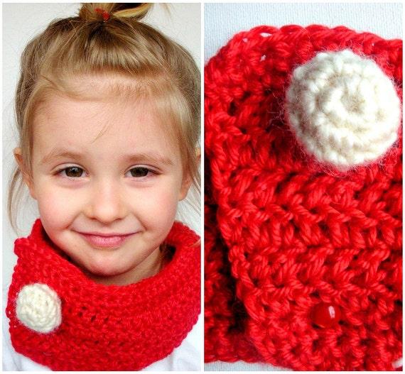 Children's Crochet Cowl Red Bamboo Wool with Handmade Peruvian Wool Button