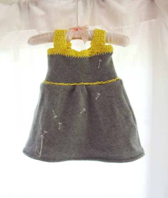 Cashmere Baby Dress Upcycled Sweater Grey and Yellow Cotton Crochet and Embroidered Dandelion Detail One of a Kind